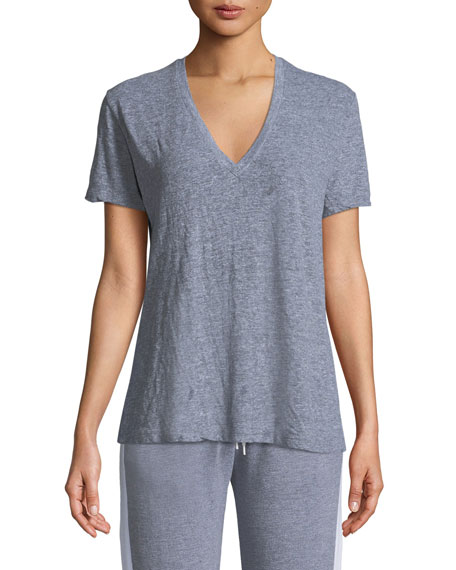 Monrow V-Neck Short-Sleeve Jersey Tee