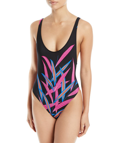 Printed High-Leg One-Piece Swimsuit