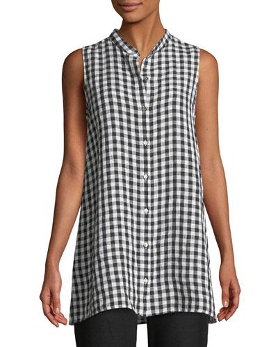 Sleeveless Organic Linen Gingham Tunic Shirt