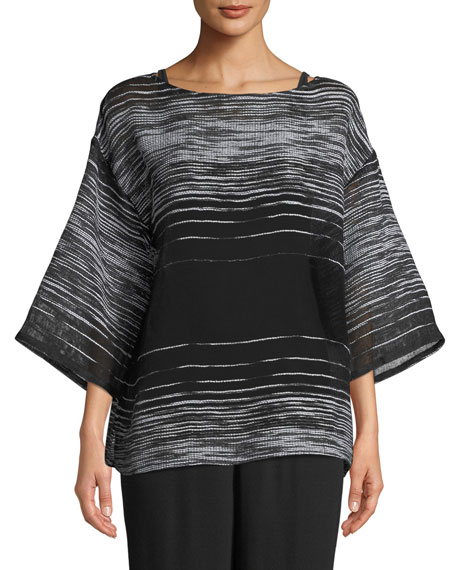 Eileen Fisher Half-Sleeve Illusion Mesh Top