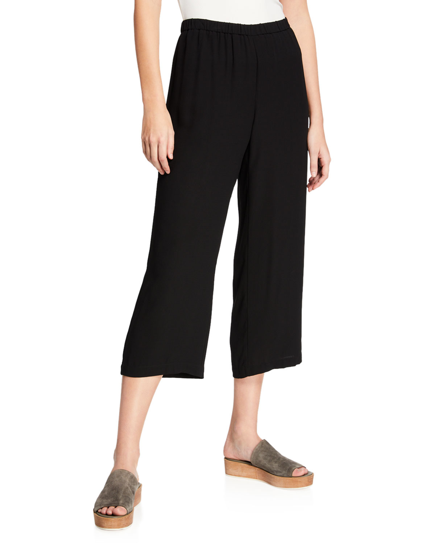 Cropped Silk Georgette Straight-Leg Pants, Petite
