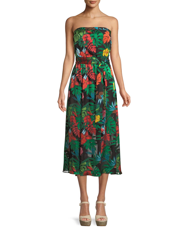 Mazie Tropical-Print Strapless Tea-Length Dress