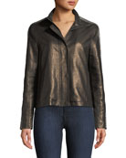 Neiman Marcus Leather Collection Chain-Embellished Leather Jacket