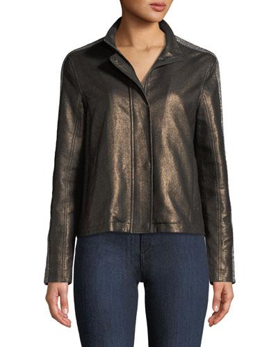Chain-Embellished Leather Jacket
