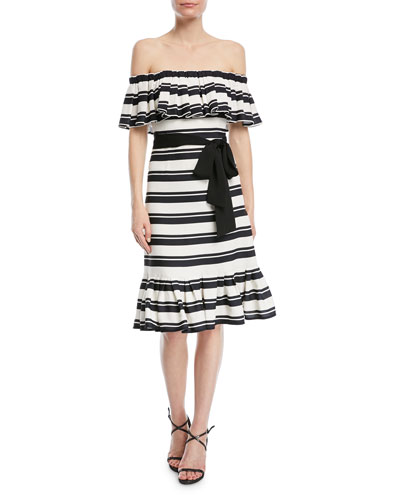 Off-the-Shoulder Striped Dress w/ Tie Waist