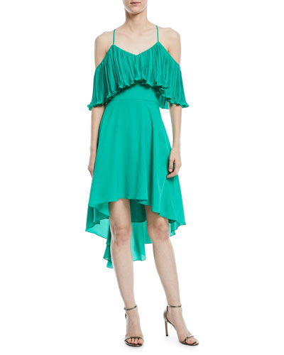 Cold-Shoulder Dress w/ Pleated Flounce Top