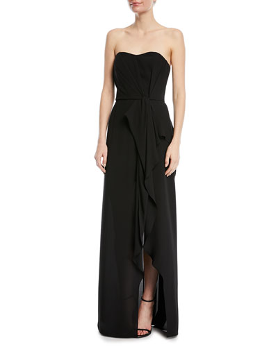 Strapless Ruffle-Front Gown