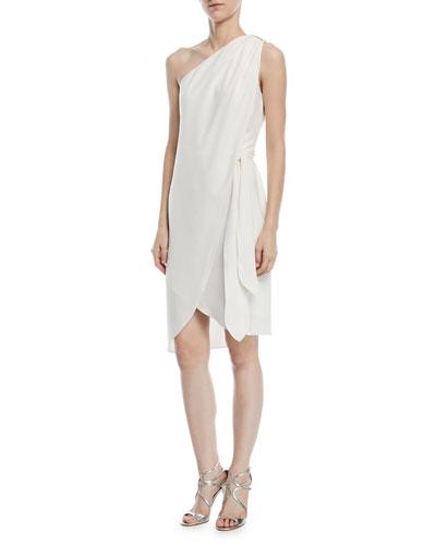 One-Shoulder Tie-Waist Cocktail Dress