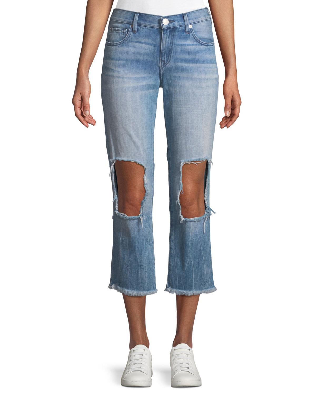 Starr Destroyed-Knee Zip-Cuff Jeans