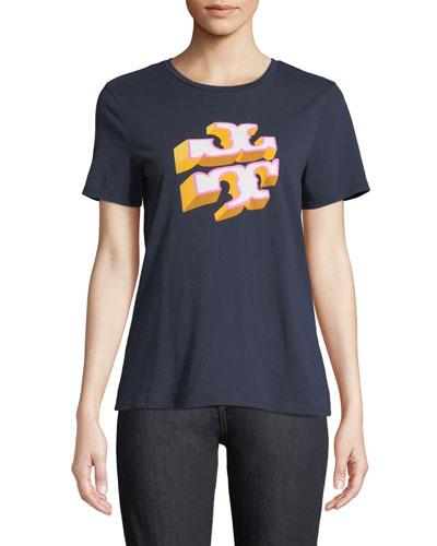 Shadow-Block Logo Crewneck Short-Sleeve Cotton Tee