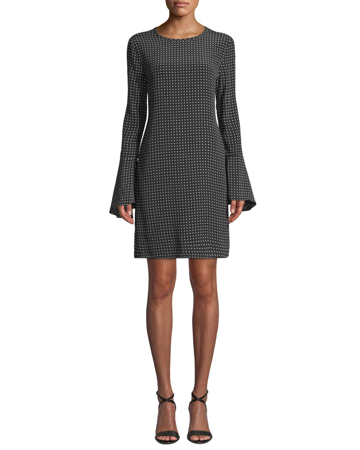MARI DOT-PRINT SILK FLARED-SLEEVE SHORT DRESS
