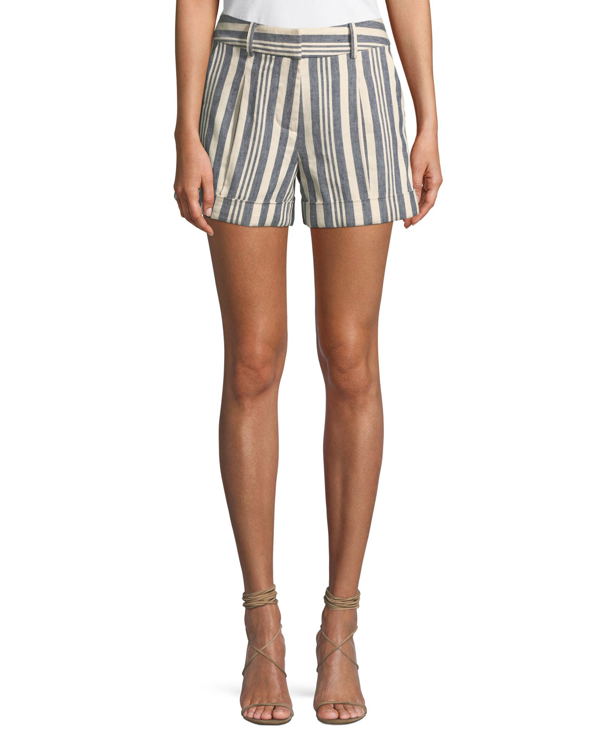Carito Striped Linen Cuffed Shorts