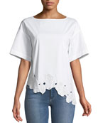 Zuri Excursion Embroidered-Hem Blouse