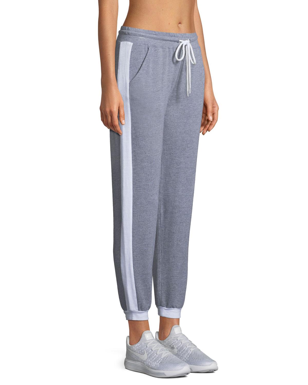 Sporty Heathered Drawstring Side-Stripe Sweatpants