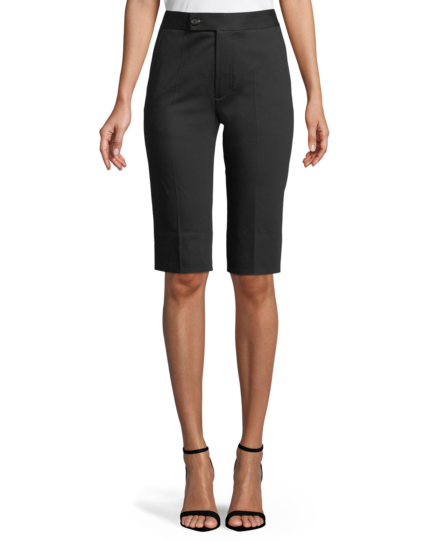 Slim Split-Hem Cotton Bermuda Shorts