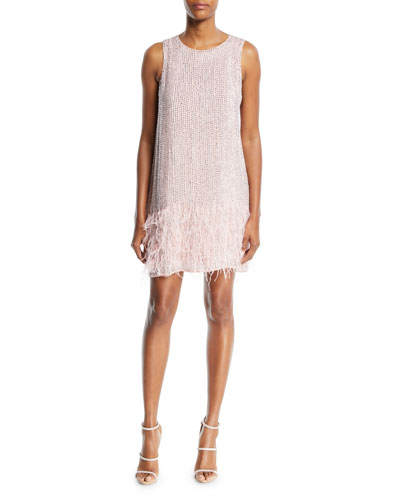 Allegra Beaded Tank Cocktail Dress w/ Feather Hem