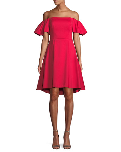 Flounce-Sleeve Off-the-Shoulder Cocktail Dress