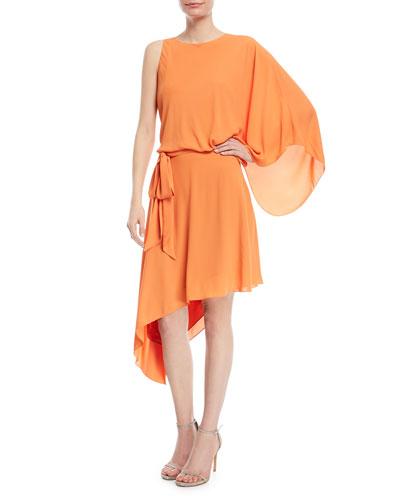 Asymmetric Flowy Cowl-Back Dress
