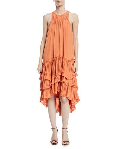 Sleeveless Flowy Tiered Georgette Dress