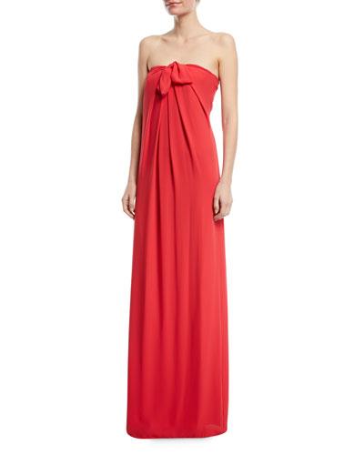 Strapless Gown w/ Front Tie Detail