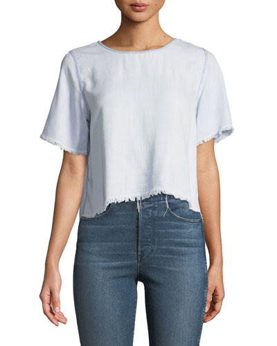 Fort Tilden Raw-Edge Short-Sleeve Top