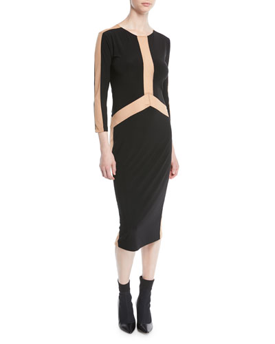 Spliced Long-Sleeve Stretch Jersey Dress