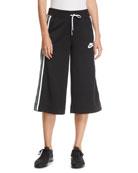 Nike Activewear Cropped Drawstring Track Pants w/ Racer