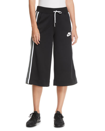Activewear Cropped Drawstring Track Pants w/ Racer Stripes