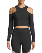 CUSHNIE Hana Cold-Shoulder Crop Top