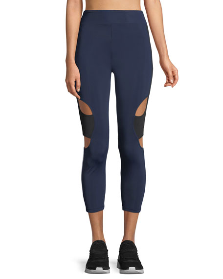 CUSHNIE Cropped High-Rise Cutout Side-Stripe Leggings
