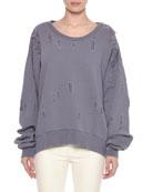 Round-Neck Long-Sleeve Distressed Brushed Cotton Sweatshirt