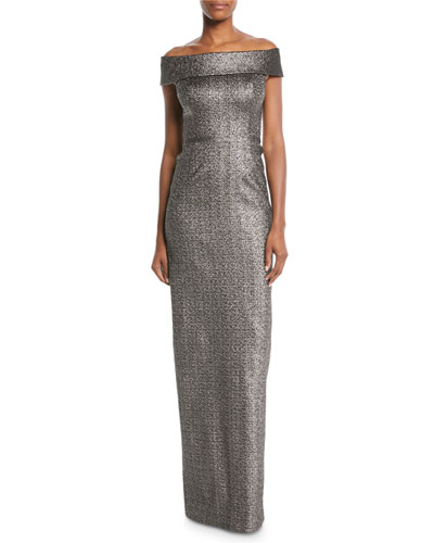 Stretch Jacquard Metallic Off-the-Shoulder Column Gown