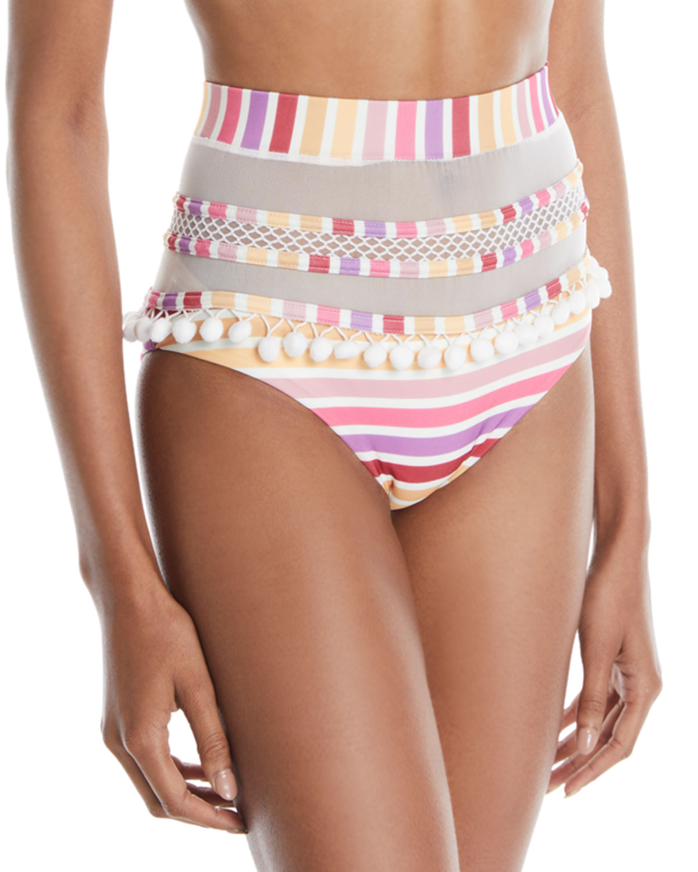Thessy Striped Mesh Bikini Bottom w/ Pom-Poms
