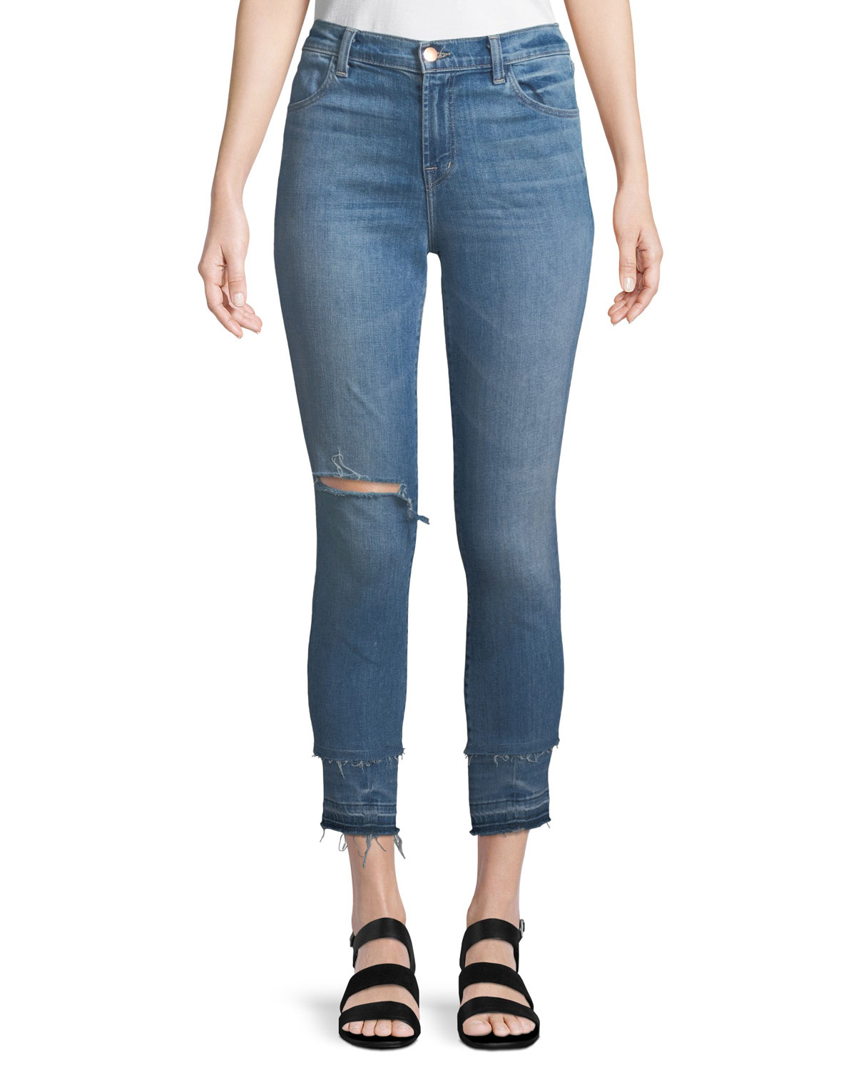 Alana High-Rise Cropped Skinny Jeans with Ripped Knee