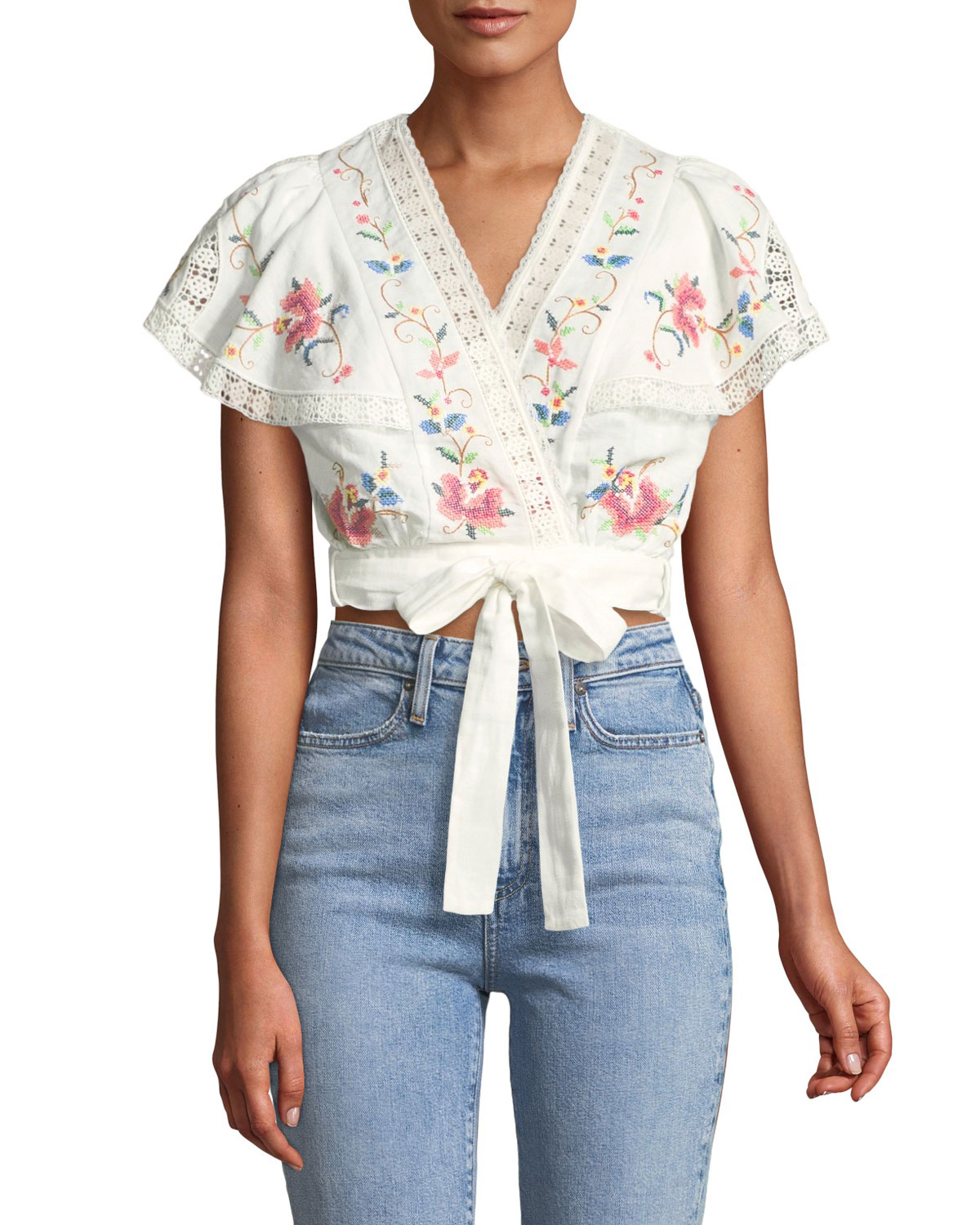 LAELIA EMBROIDERED LINEN-COTTON CROPPED TOP