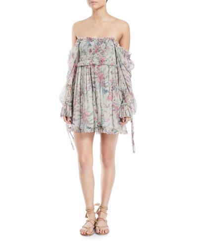 Bayou Off-the-Shoulder Floral Silk Mini Dress