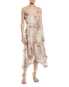 Laelie Floating Floral-Print Sleeveless Ruffle Dress