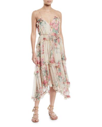 Laelie Floating Floral-Print Sleeveless Ruffle Dress
