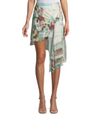French Riviera Printed Wrap Mini Skirt