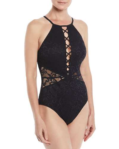 Shalimar Lace High-Neck One-Piece Swimsuit