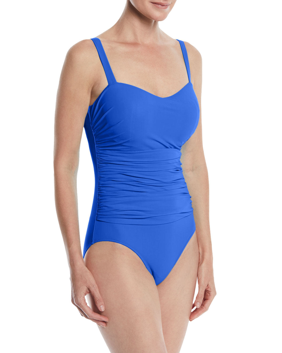 PROFILE BY GOTTEX Tutti Frutti Ruched One-Piece Swimsuit (D Cup) in Blue