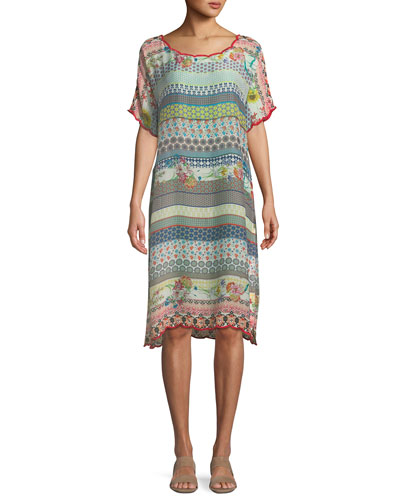 Flower Garden Georgette Stripe Tunic Dress