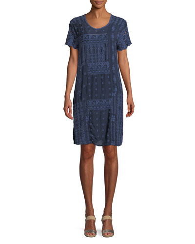 Mixed Berry Georgette Short-Sleeve Shift Dress, Plus Size