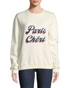 Paris Cheri Long-Sleeve Crewneck Sweatshirt