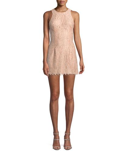 Brianna Lace Mini Dress w/ Cutout