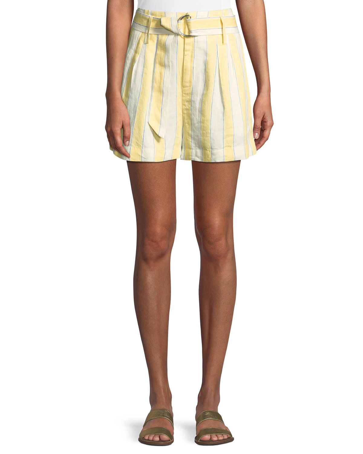 Striped Belted Linen Shorts