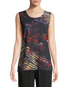 Caroline Rose Plus Size Harvest Printed Sleeveless Tank