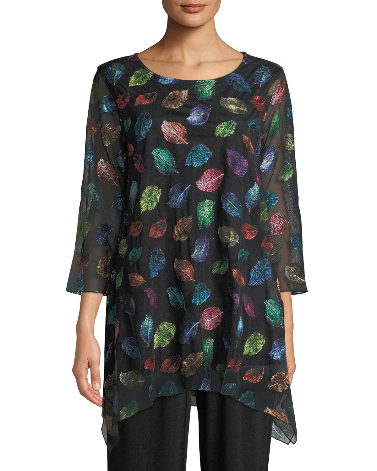 Falling Leaves Embroidered Tunic, Plus Size