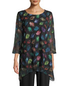 Caroline Rose Falling Leaves Embroidered Tunic