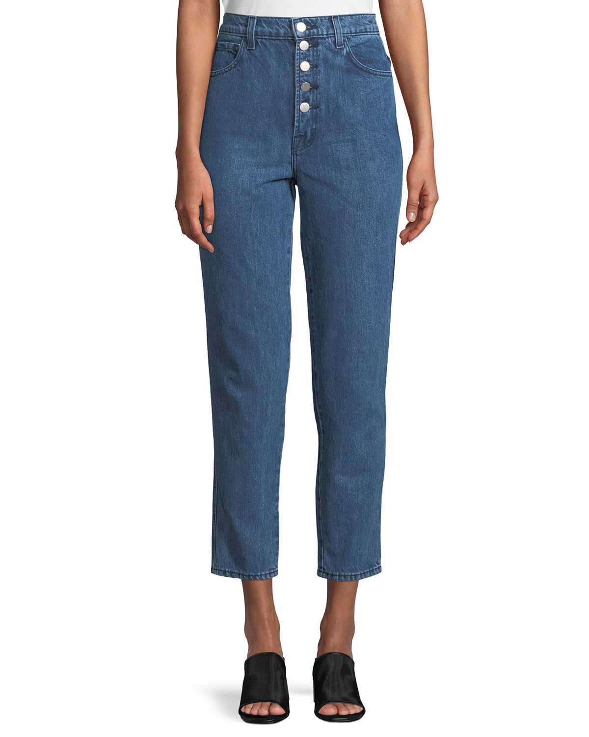 Heather Button-Fly Cropped Straight-Leg Jeans